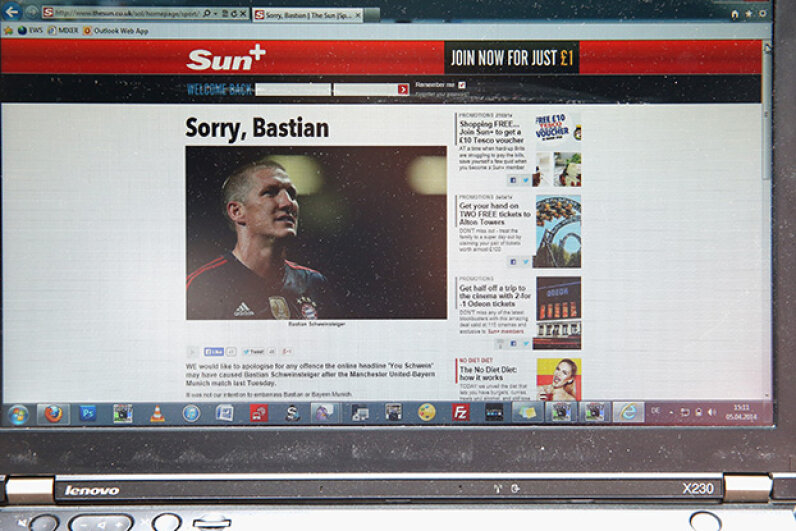 "The Sun apologized for their comments about Bayern Munich football player Bastian Schweinsteiger in 2014. They referred to the German player with the headline: ""You Schwein,"" which the club found insulting. Alexander Hassenstein/Bongarts/Getty Images"