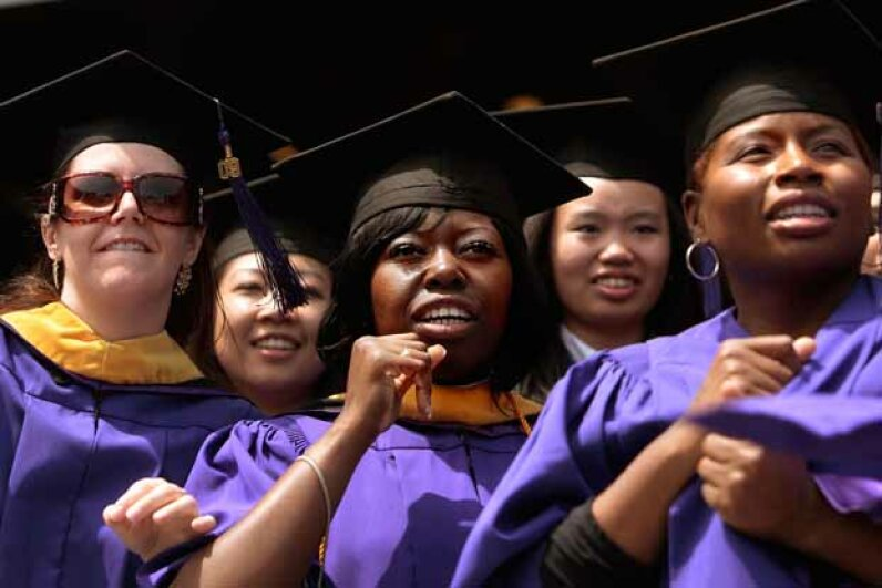 Graduate candidates in the nursing program wait to be conferred their degrees during commencement exercises for New York University in 2009. Chris Hondros/Getty Images