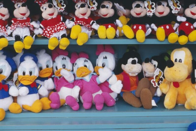 """Wonder many of these Disney characters have had movies stored in the """"vault."""" Fortunately for kids and unfortunately for their parents, the expensive stuffed toys are available all the time. © Atlantide Phototravel/Corbis"""
