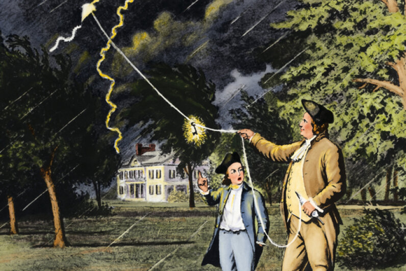 Though he didn't discover electricity, Benjamin Franklin coined most of the words we use today to describe it, including battery, conductor, and positive and negative charges. © Bettmann/CORBIS