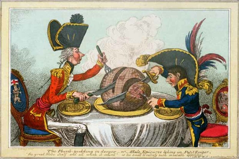 This political cartoon shows British Prime Minister William Pitt and Gen. Napoleon Bonaparte dividing up the globe, almost certainly after the Peace of Amiens in 1802. Note how much smaller Napoleon is depicted than Pitt. © Hulton-Deutsch Collection/CORBIS