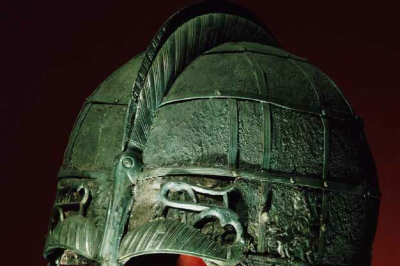 This is a real Viking helmet from the 7th century. Unfortunately, it is hornless. © Werner Forman/Werner Forman/Corbis