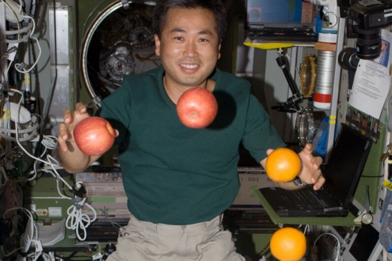 Juggling isn't such an awesome party trick in microgravity. Image courtesy NASA