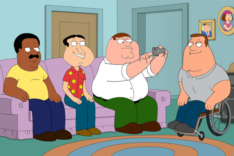 The central character in the animated series 'Family Guy' is Peter Griffin, second from right. Fox/Getty Images