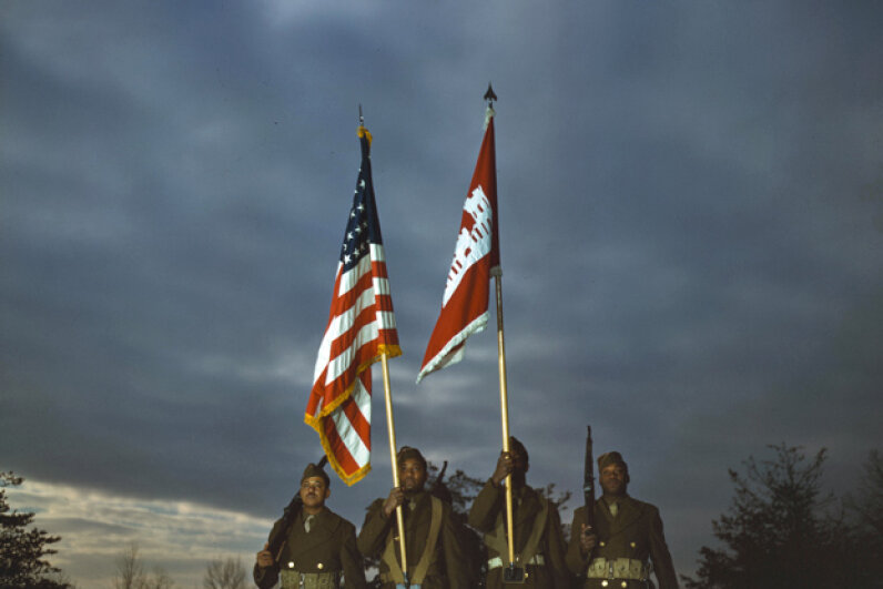 Color guard of African-American engineers, Fort Belvoir, Virginia, 1943