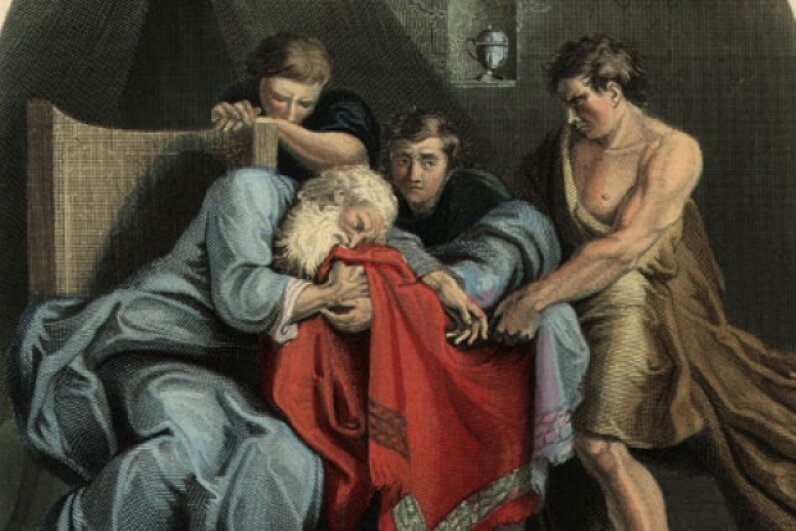 This painting depicts Joseph's father, Jacob, weeping at the sight of his son's blood-stained coat. ©Hulton Archive/Getty Images