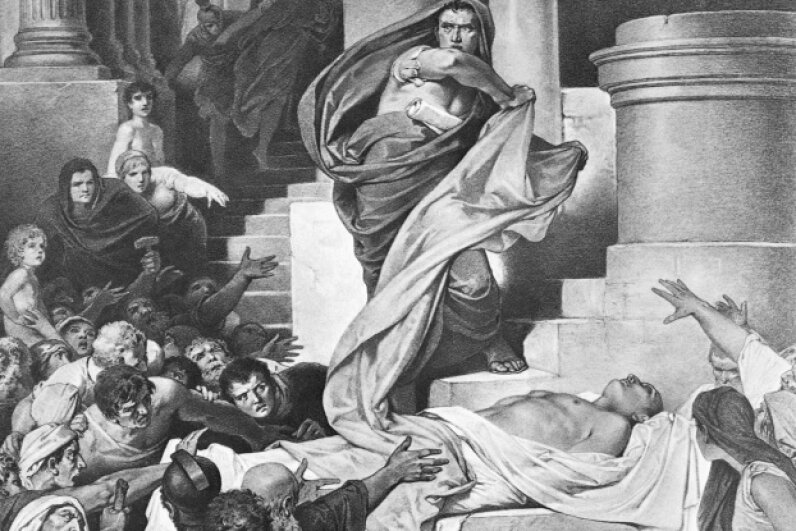 The death of Julius Caesar as painted by Alexander Zick © Bettmann/CORBIS
