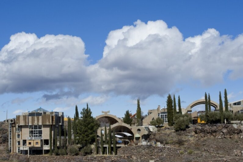 Pictured is Arcosanti, an Arizona desert town based on architect Paolo Soleri's early visions for an eco-city that merged architecture and ecology. © Wolfgang Kaehler/Corbis