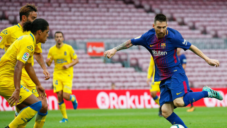 Lionel Messi makes a play during a match between FC Barcelona and UD Las Palmas that was played behind closed doors, on Oct. 1, 2017 due to the violence surrounding the Catalonia referendum. Urbanandsport/NurPhoto via Getty Images