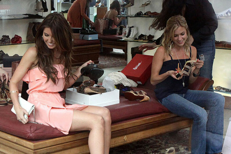 """Audrina Patridge (left) and Kristin Cavallari, formerly of """"The Hills"""" looked like they were getting along in 2010, and Patridge says at least one fight between them was staged. David Aguilera/BuzzFoto/FilmMagic"""