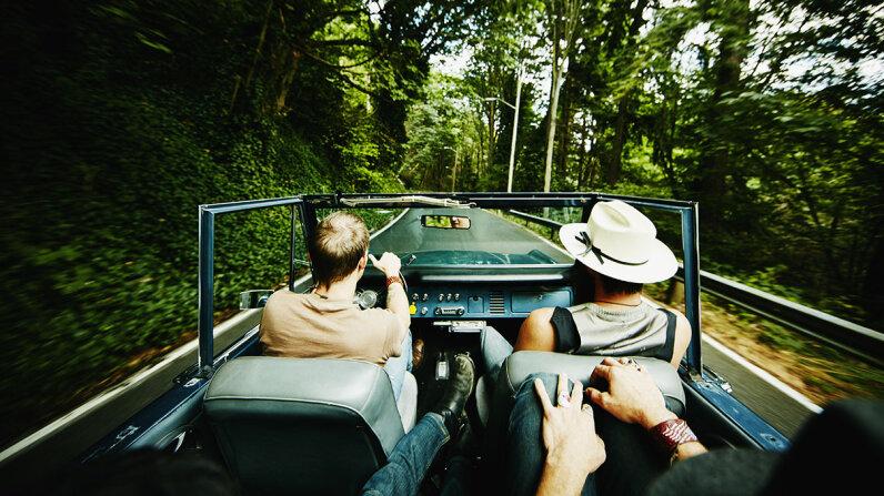 Friends driving
