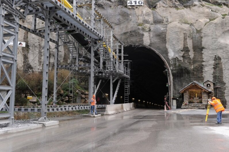 The Gotthard Base Tunnel, which runs through the Swiss Alps, is the longest such tunnel in the world. Pier Marco Tacca/Getty Images