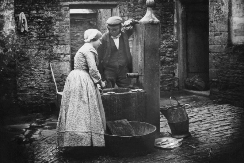 A cholera outbreak linked to London's Broad Street water pump helped give rise to the field of epidemiology. T. R. Williams/William Grundy/London Stereoscopic Company/Getty Images