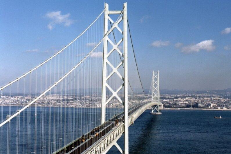 Japan's Akashi Strait bridge is the world's longest suspension bridge. AFP/Getty Images