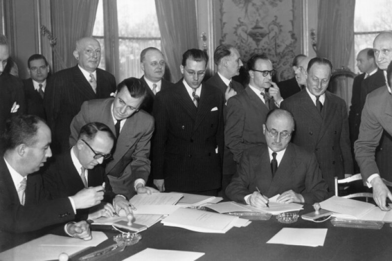 Walter Hallstein, head of the German delegation, and Jean Monnet, future president of the High Authority of the European Coal and Steel Community and representing France, signed the Schuman Declaration in 1951. Keystone-France/Gamma-Rapho via Getty Images