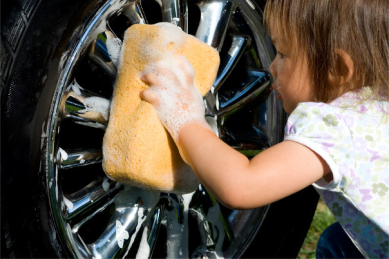 I'm pretty sure she can find better things to do with her time, like go to the playground. C'mon self-cleaning cars! iStockphoto/Thinkstock