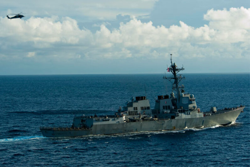 The Arleigh Burke-class guided-missile destroyer USS McCampbell (DDG 85) cruises the Andaman Sea in October 2012. Ridding the USS McCampbell and other ships in its class of saltwater crustaceans can cost the Navy millions of dollars annually. Image courtesy U.S. Navy/Mass Communication Specialist 3rd Class Justin A. Johndro