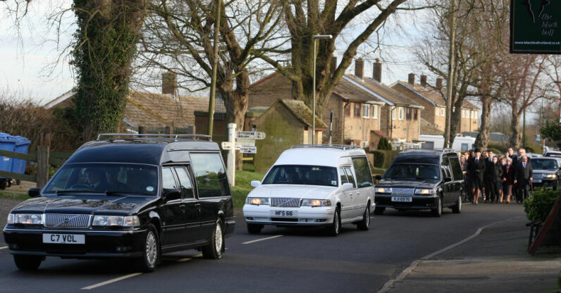 A funeral procession travels to St. Peter and St. Paul Church in Leicestershire, England.    Chris Radburn/PA Images via Getty Images