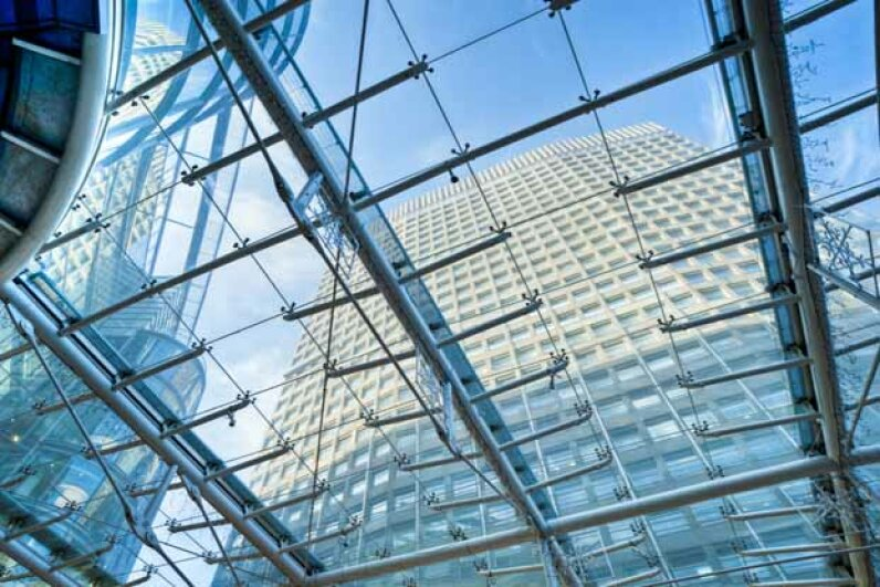 Transparent aluminum could be used to construct towering glass-walled skyscrapers that required less internal support. claser/E+/Getty Images