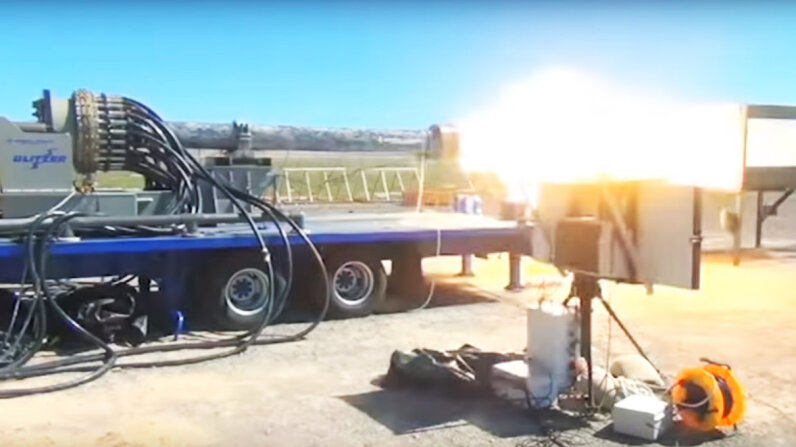 The General Atomics Blitzer railgun system is designed to propel projectiles using electromagnetism. General Atomics