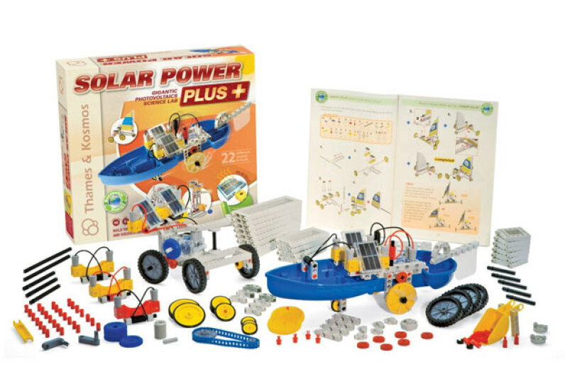 You can assemble 22 solar-powered models including a scooter, locomotive, forklift, solar-wind sail car and a cement mixer. Amazon