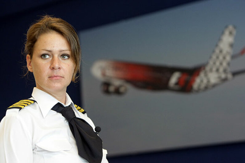 Sophie Blanchard, a French national and mother of two,  was the first woman to be a captain for Abu Dhabi's Etihad Airways, in 2010. KARIM SAHIB/AFP/Getty Images