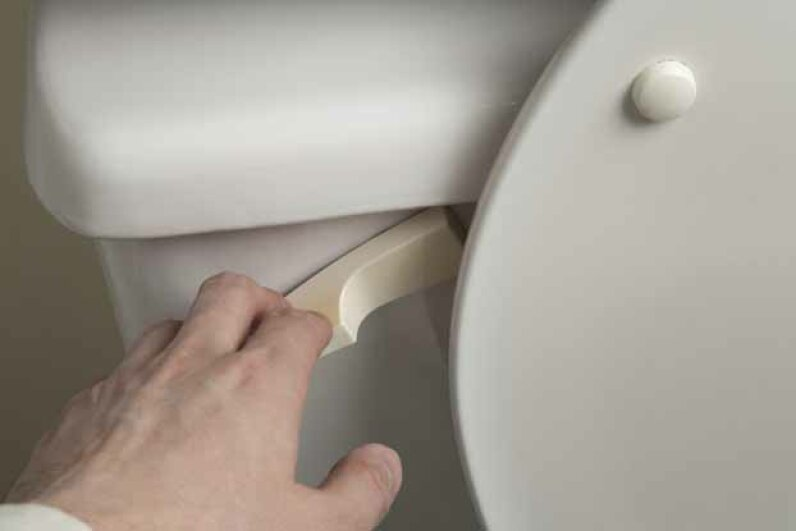 Double-check the bowl after flushing in case you need to flush a second time. iStockphoto/Thinkstock