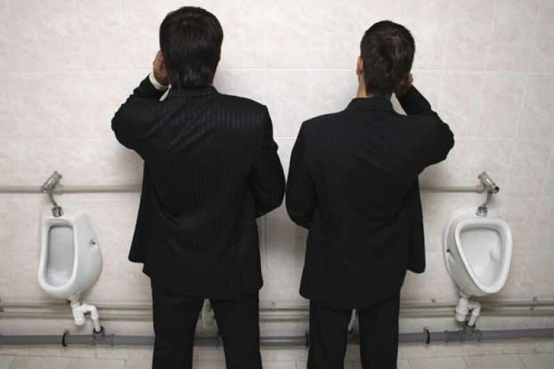 Let's leave the chit-chat till we leave the commode, shall we? iStockphoto/Thinkstock