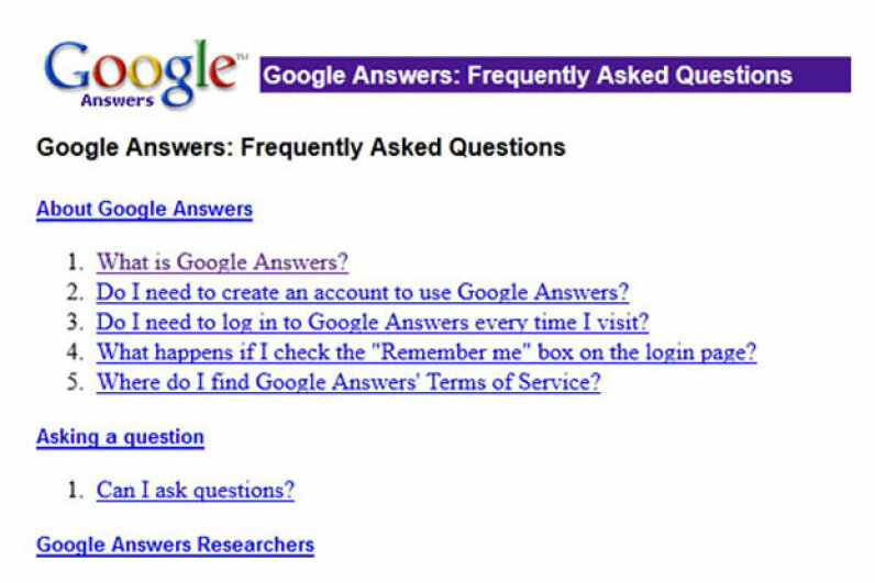 Even though the service is no longer taking new questions, you can still visit the Google Answers FAQ. Screen capture by HowStuffWorks staff