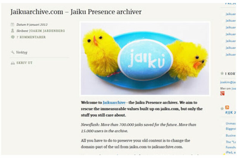 When Google announced in late 2011 that it was shutting down the Jaiku service for good, a group of dedicated users set up an archiving system so account holders could preserve the conversations and content from the social site. Screen capture by HowStuffWorks staff