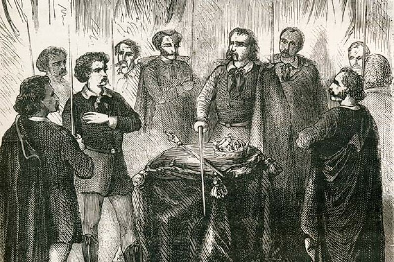This 1867 engraving shows an Illuminati initiation; some people believe the Illuminati is part of the New World Order. Universal History Archive/UIG via Getty Images