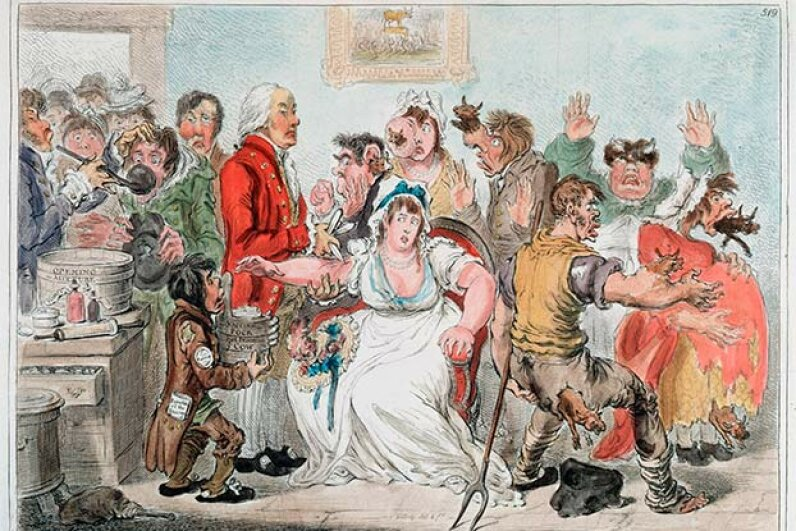 Vaccine skepticism is nothing new. This 1802 cartoon depicts public fears about being inoculated with cowpox in order to be immune to smallpox. Ann Ronan Pictures/Print Collector/Getty Images