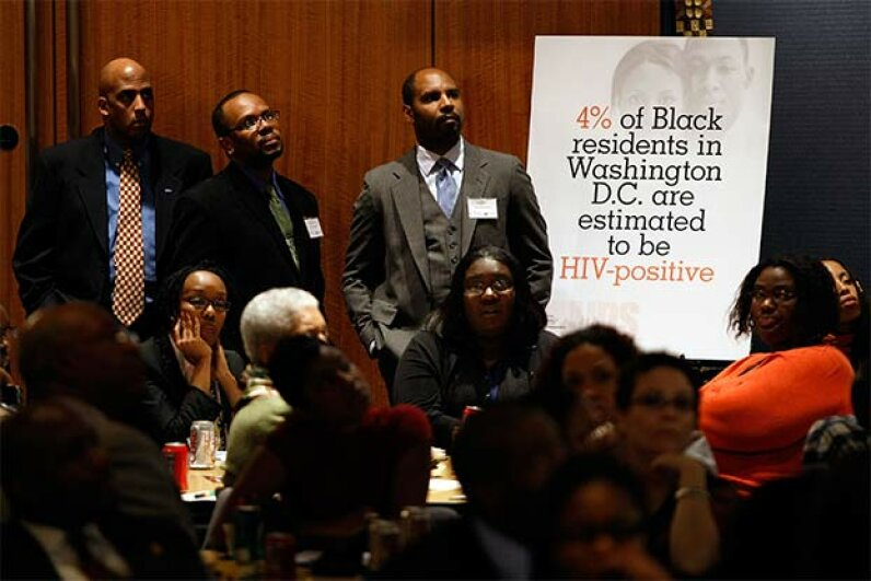 About 100 researchers, public officials, activists and community leaders participated in a town hall meeting focused on HIV/AIDS infection among African-Americans in Washington, D.C. in 2009. Chip Somodevilla/Getty Images