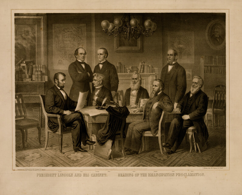 President Abraham Lincoln reads the Emancipation Proclamation to his Cabinet in 1865.