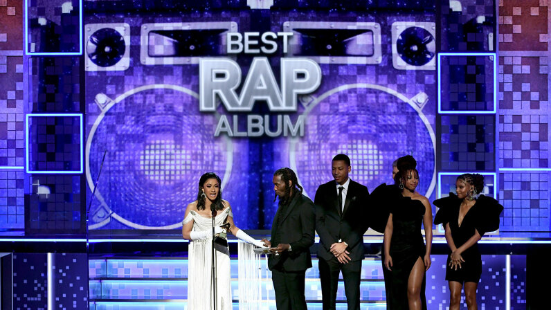 Cardi B, Offset, and Brooklyn Johnny accept the Best Rap Album for 'Invasion of Privacy' from Chloe Bailey and Halle Bailey