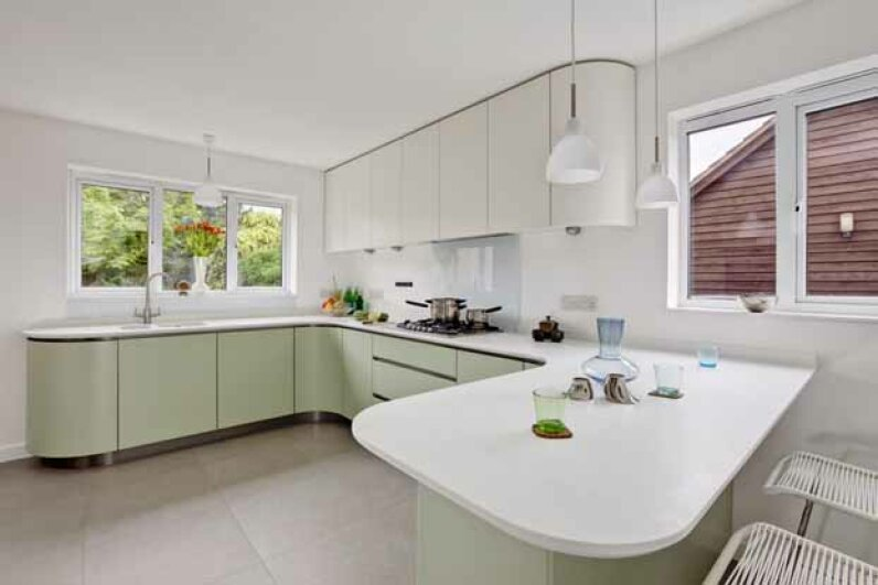 Plastic can be eco-friendly, if you choose a countertop with a high percentage of recycled material. iStock/Thinkstock