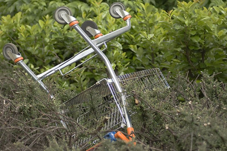 You don't want your grocery cart to end up all alone and upside down like this one, do you? Robert Redelowski/Hemera/Thinkstock
