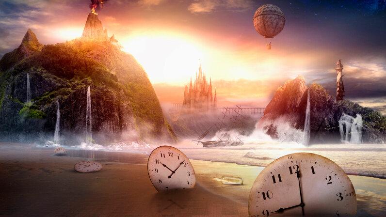 Clocks in dramatic landscape - stock photo