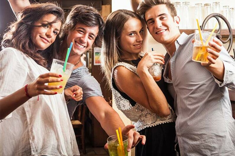 A man may get a hangover after five to eight drinks in a night; a woman, after three to five. michelar/iStock/Thinkstock