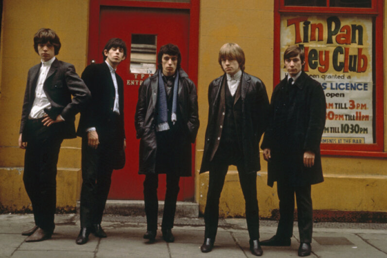 Mick Jagger (extreme left) and Keith Richards (second from left) are show in a 1963 photo of the Rolling Stones; the group was formed after Mick and Keith met by chance in a railway station. Terry O'Neill/Hulton Archive/Getty Image