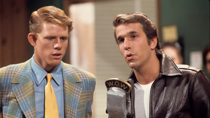 Ron Howard and Henry Winkler in a scene from Happy Days