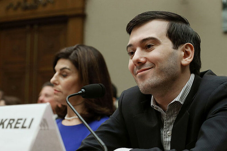 Martin Shkreli, former CEO of Turing Pharmaceuticals, sparked outrage when he hiked the price for an AIDS drug 5,000 percent overnight. Here he smirks during a hearing on Capitol Hill for fraud charges unrelated to his drug pricing. Mark Wilson/Getty Images