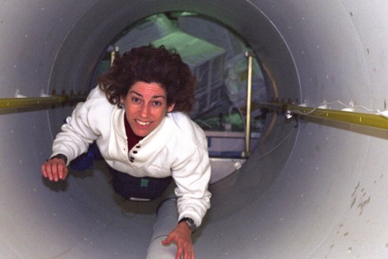 What better image to start with than with this picture of Ellen Ochoa, the first female Hispanic astronaut! Here she is on her third spaceflight, helping to transport supplies from the space shuttle Discovery to the International Space Station in spring 1999. Image courtesy NASA