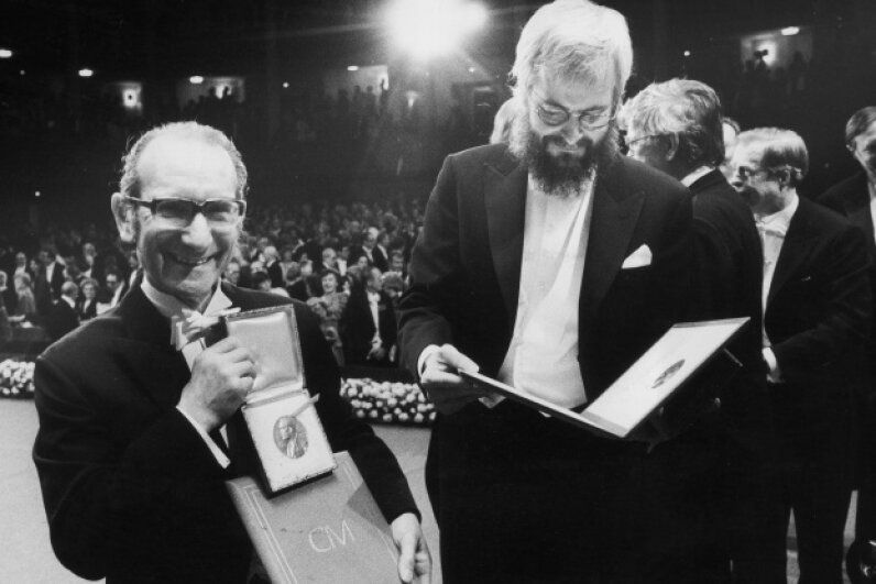 A good day to be a scientist! Milstein (left) grins with Georges Kohler after their joint award (with Niels Jerne) of the 1984 Nobel Prize in physiology or medicine for their work on the immune system. Borje Thuresson/Keystone/Getty Images