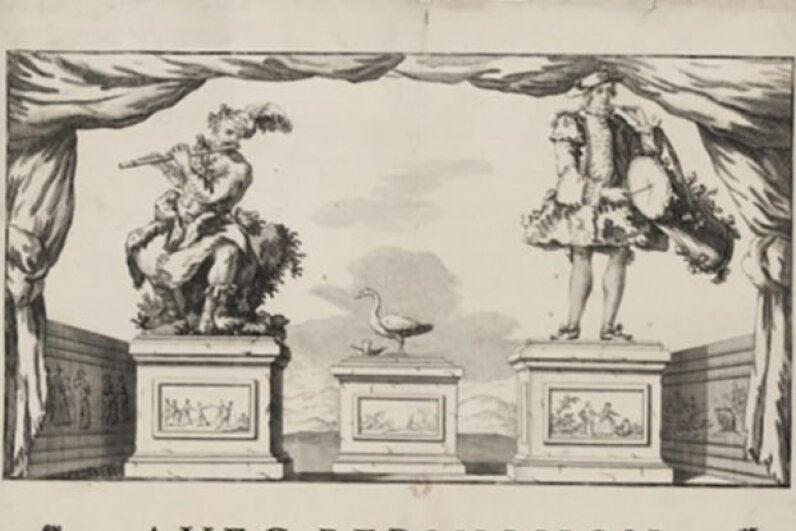 A drawing of three of Vaucanson's works. The flute-player is on the left, another human-like automaton is on the right, and the famous pooping duck is in the middle.  National Library of France