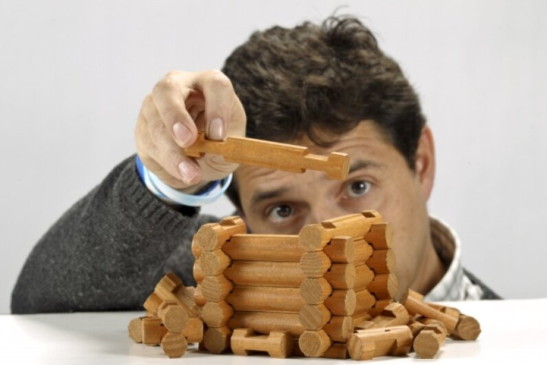 Like the Erector set, Lincoln Logs are used to build objects.  David Cooper/Toronto Star via Getty Images