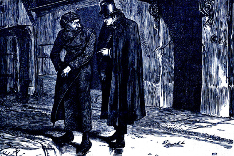 "When people hear the word ""Dickensian"" they imagine a scene like this one from ""Oliver Twist"" — a place full of darkness and grime. But ""Dickensian"" can also meant characters that are larger than life or portrayed sentimentally. Culture Club/Getty Images"