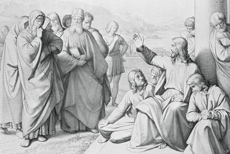 This 1842 engraving shows Jesus discoursing with the Pharisees. © Corbis