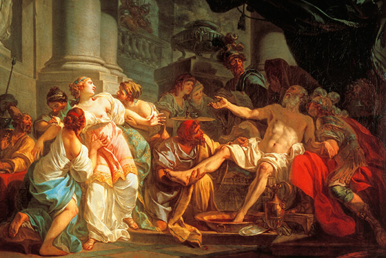 This painting by Jacques-Louis David portrays the death of Seneca. Seneca was a leading Stoic and the tutor of Emperor Nero. Seneca was forced to commit suicide after being implicated in a plot to assassinate Nero. DeAgostini/Getty Images