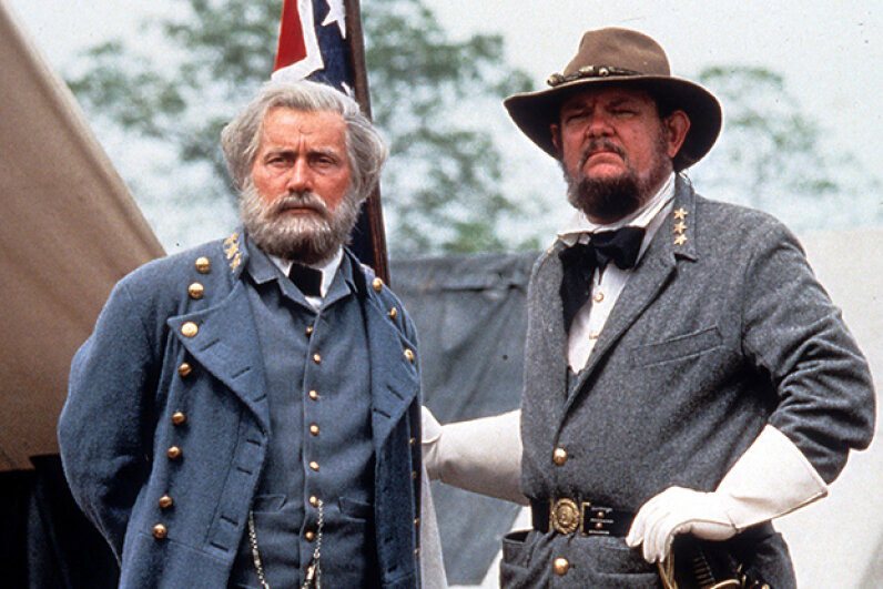 "While ""Gettysburg"" won acclaim for its historical accuracy, not everyone was pleased with Martin Sheen's (left) portrayal of Robert E. Lee. New Line Cinema/Getty Images"